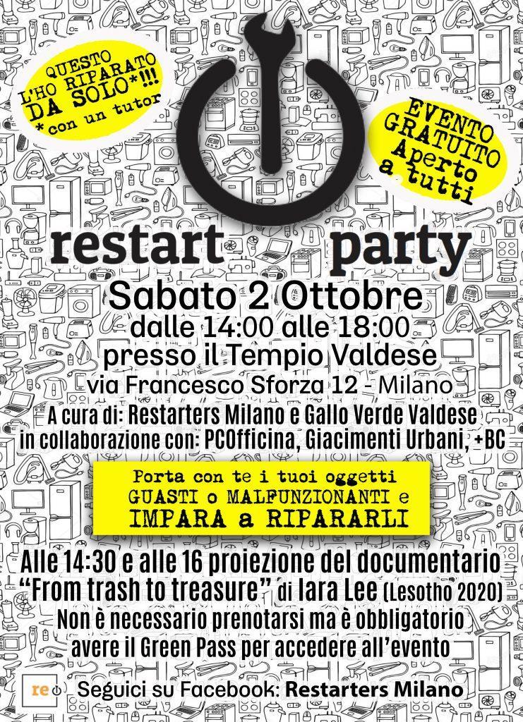 Restart Party al Tempio Valdese di Milano - 2 Ottobre 2021